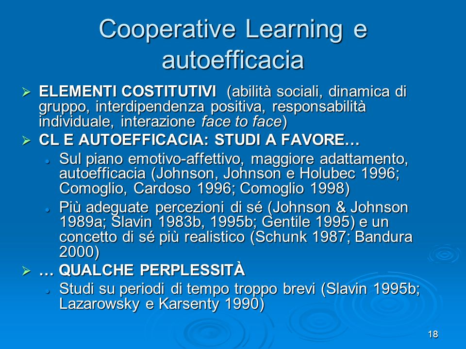 Cooperative Learning e autoefficacia