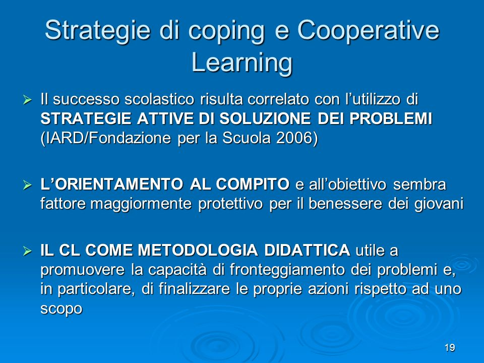 Strategie di coping e Cooperative Learning