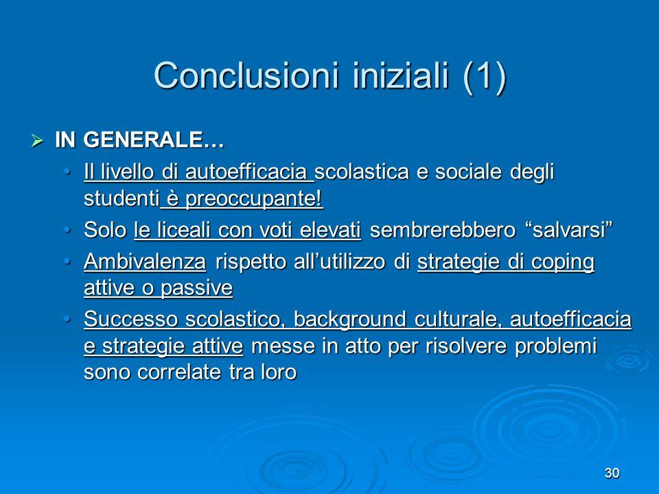 Conclusioni iniziali (1)