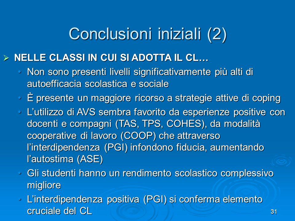 Conclusioni iniziali (2)