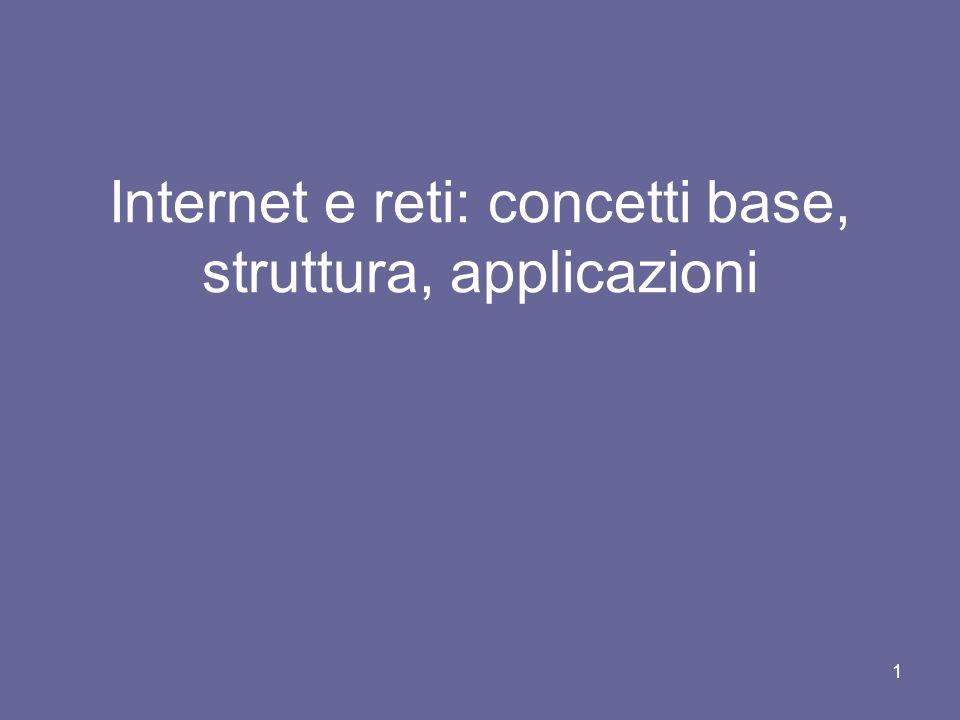 Internet e reti: concetti base, struttura, applicazioni