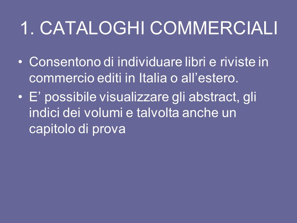 1. CATALOGHI COMMERCIALI