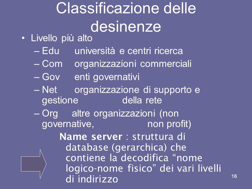 Classificazione delle desinenze