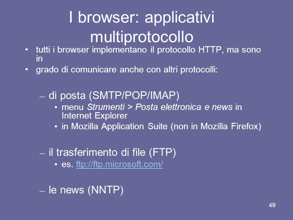 I browser: applicativi multiprotocollo