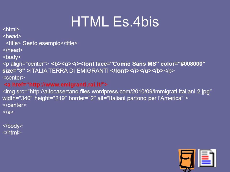 HTML Es.4bis <html> <head>