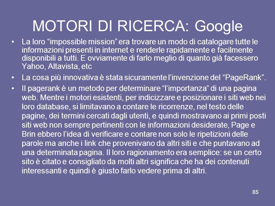 MOTORI DI RICERCA: Google