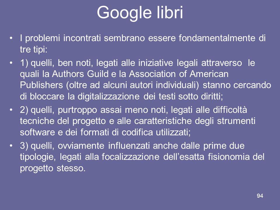 Google libri I problemi incontrati sembrano essere fondamentalmente di tre tipi: