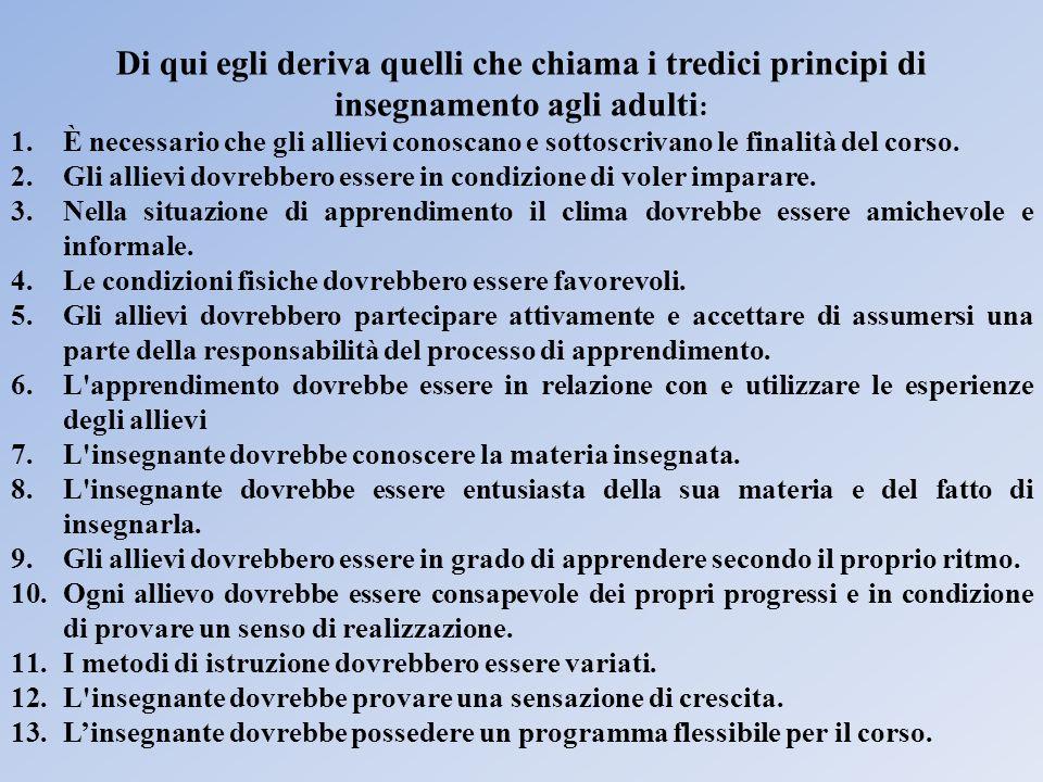 Di qui egli deriva quelli che chiama i tredici principi di insegnamento agli adulti: