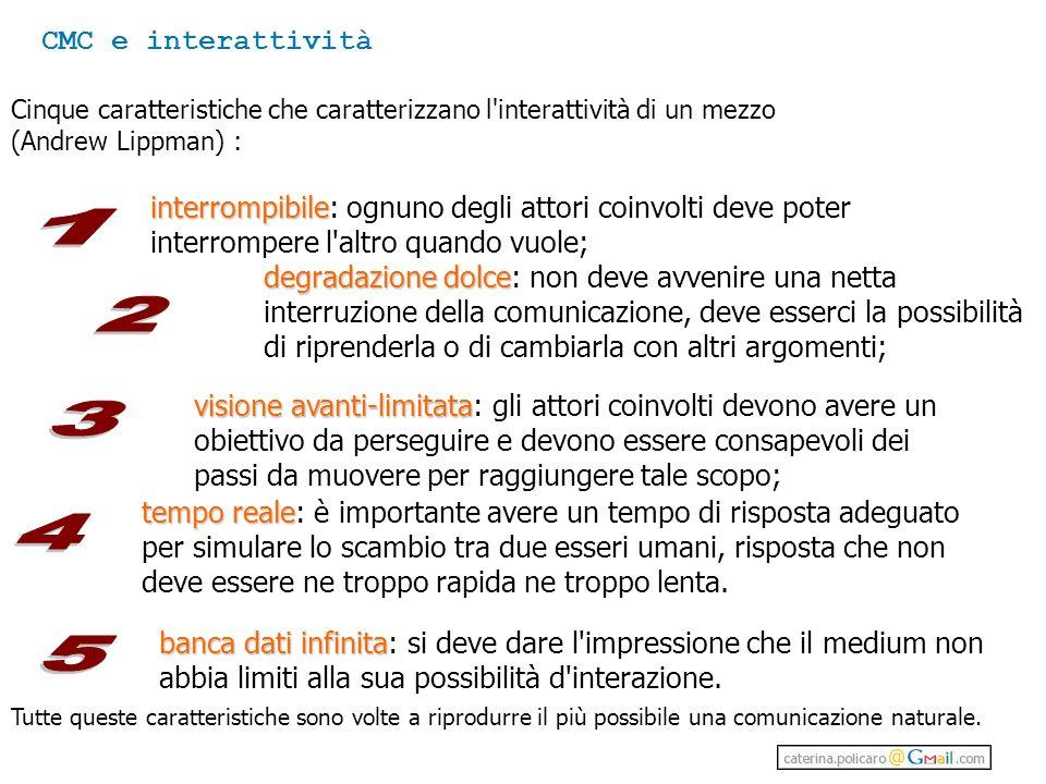 CMC e interattività Cinque caratteristiche che caratterizzano l interattività di un mezzo. (Andrew Lippman) :