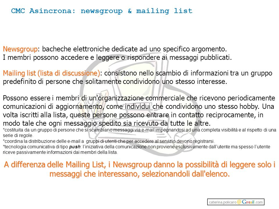 CMC Asincrona: newsgroup & mailing list