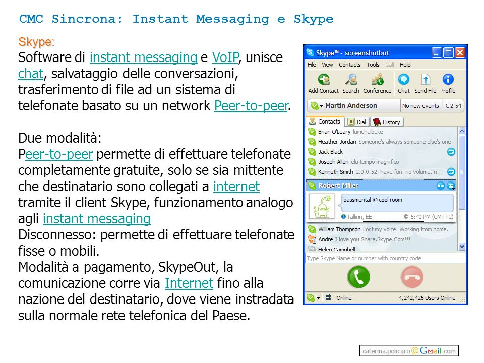 CMC Sincrona: Instant Messaging e Skype