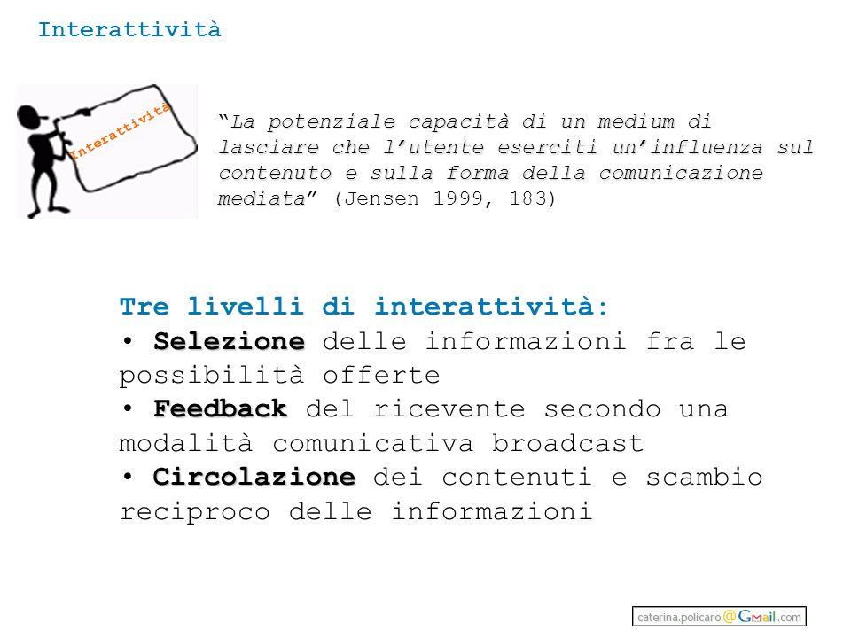 Tre livelli di interattività: