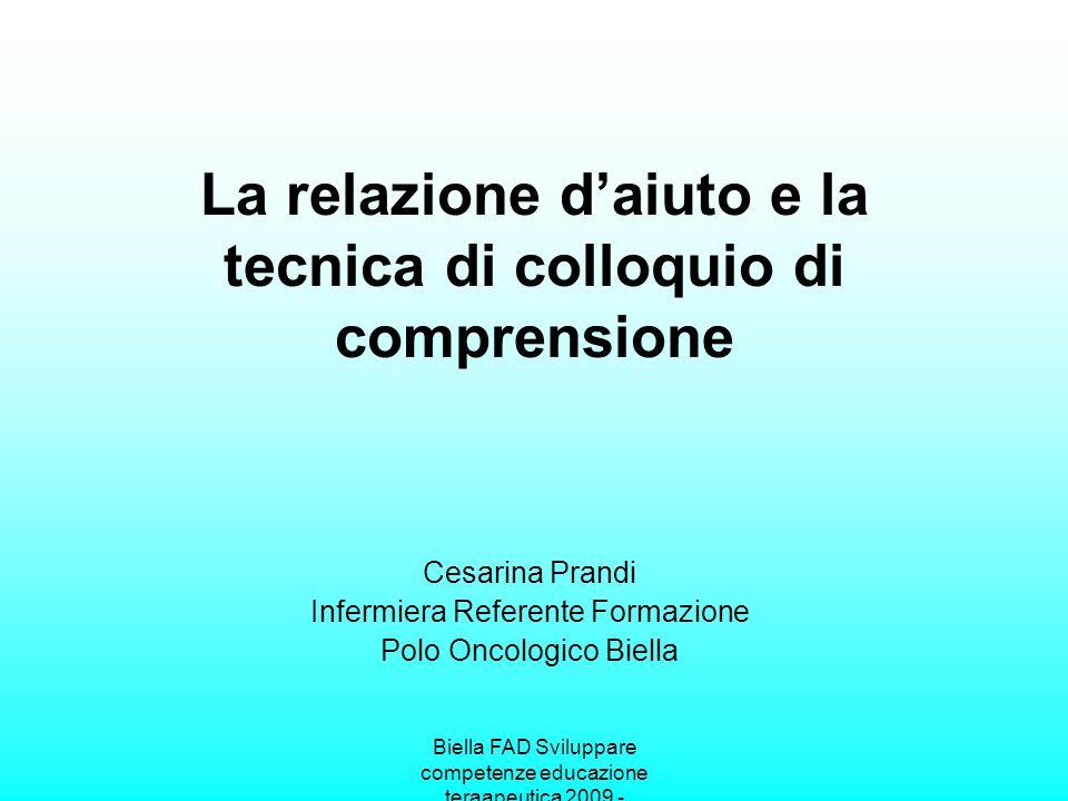 La relazione d'aiuto e la tecnica di colloquio di comprensione