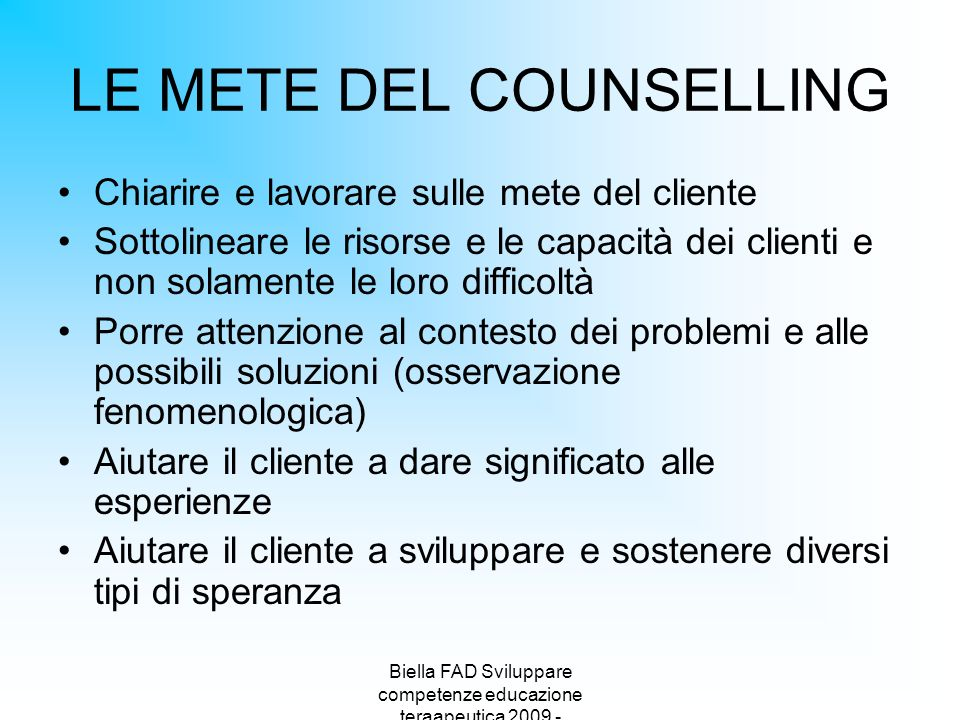 LE METE DEL COUNSELLING