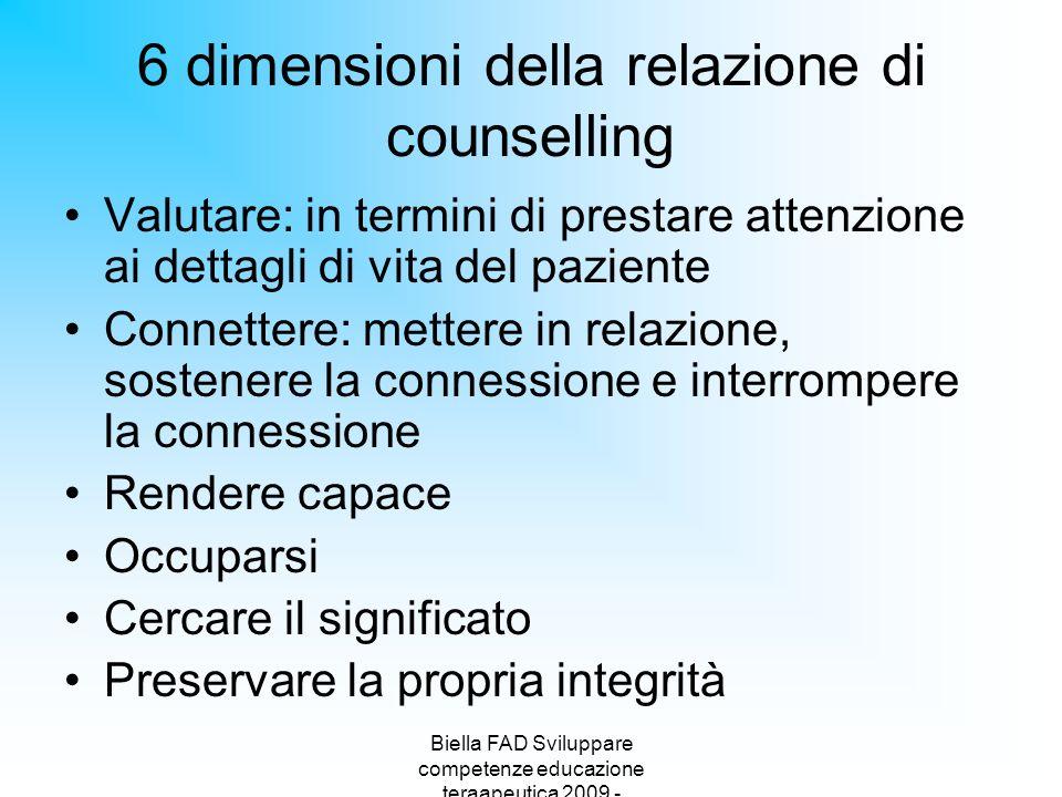 6 dimensioni della relazione di counselling