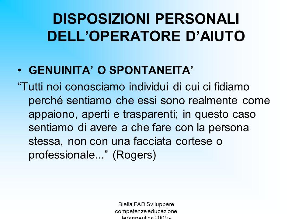 DISPOSIZIONI PERSONALI DELL'OPERATORE D'AIUTO