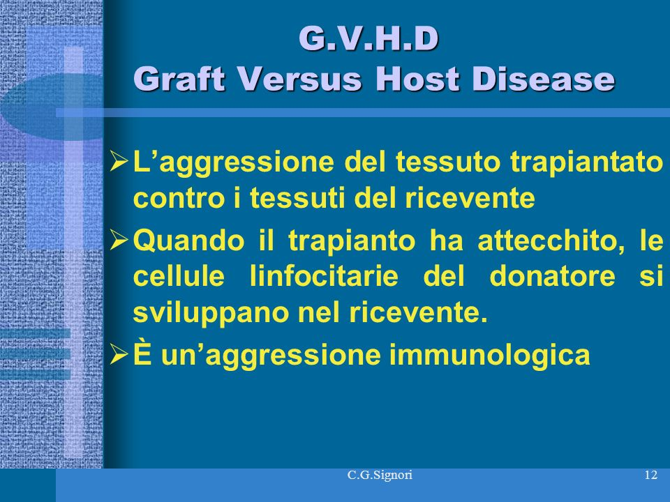 G.V.H.D Graft Versus Host Disease