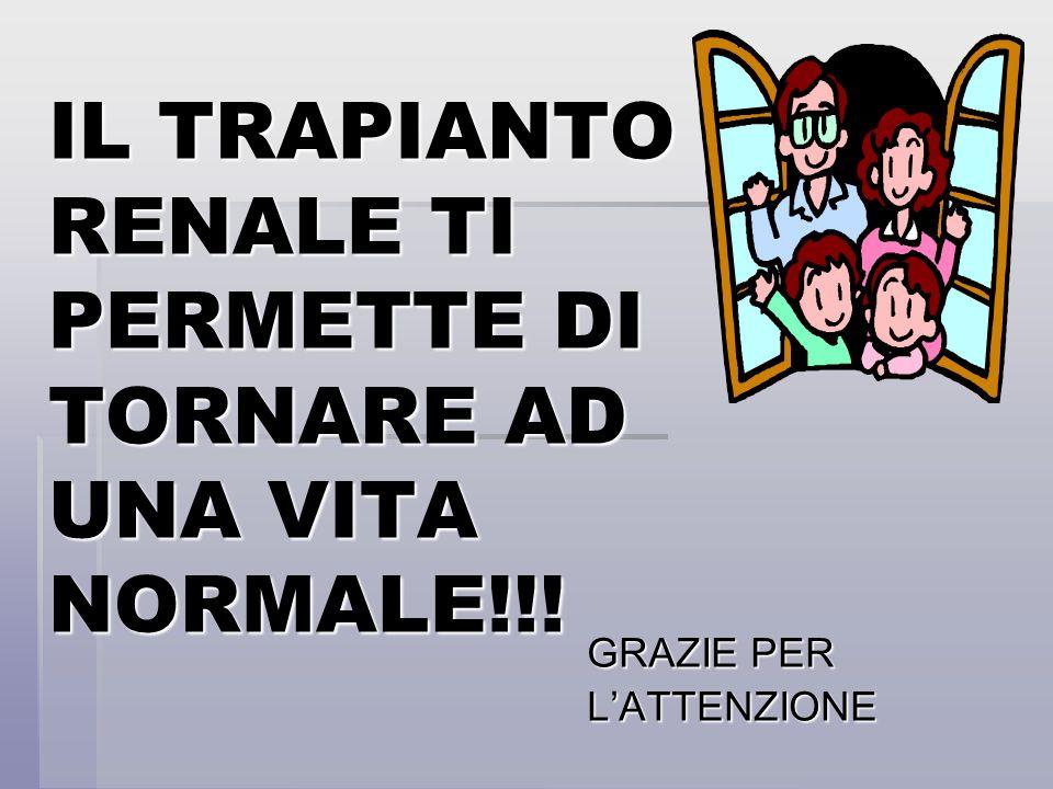 IL TRAPIANTO RENALE TI PERMETTE DI TORNARE AD UNA VITA NORMALE!!!