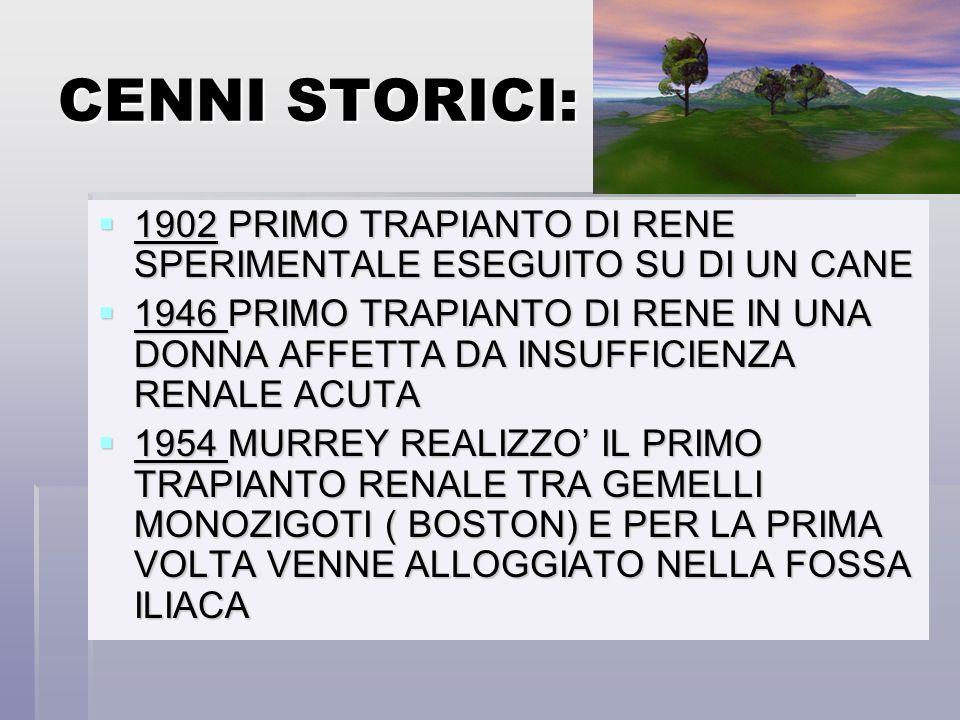 CENNI STORICI: 1902 PRIMO TRAPIANTO DI RENE SPERIMENTALE ESEGUITO SU DI UN CANE.