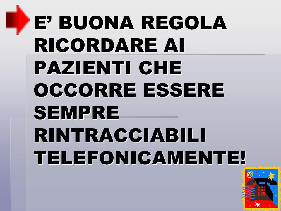 E' BUONA REGOLA RICORDARE AI PAZIENTI CHE OCCORRE ESSERE SEMPRE RINTRACCIABILI TELEFONICAMENTE!