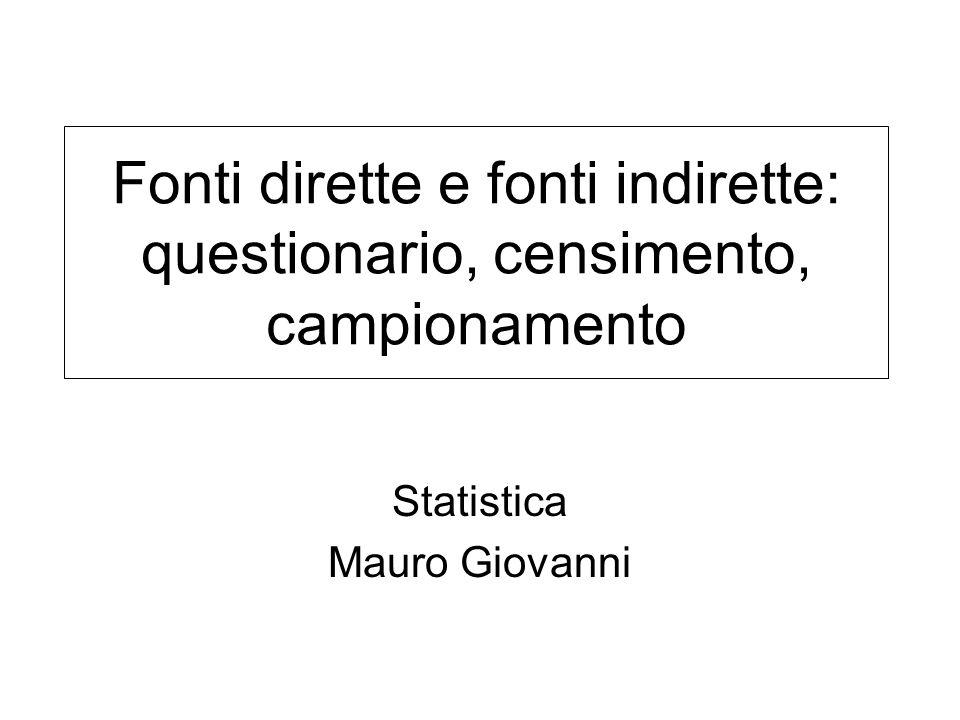 Statistica Mauro Giovanni