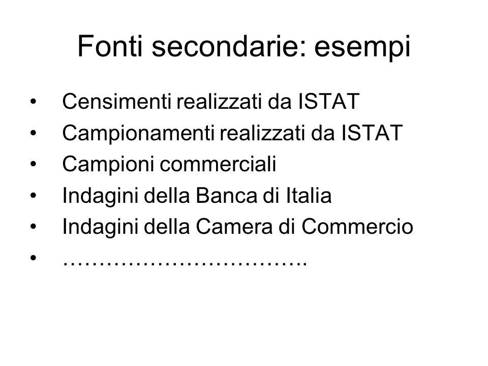 Fonti secondarie: esempi