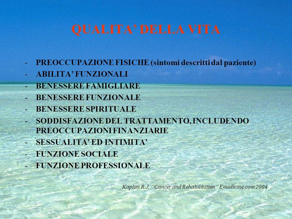QUALITA' DELLA VITA PREOCCUPAZIONE FISICHE (sintomi descritti dal paziente) ABILITA' FUNZIONALI. BENESSERE FAMIGLIARE.