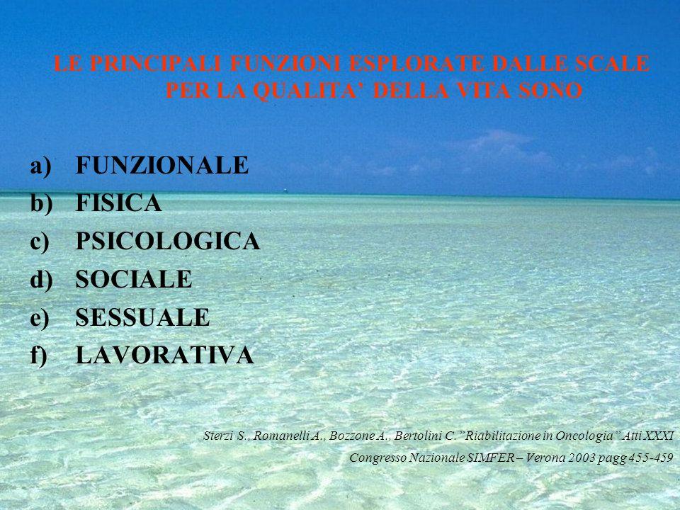 FUNZIONALE FISICA PSICOLOGICA SOCIALE SESSUALE LAVORATIVA