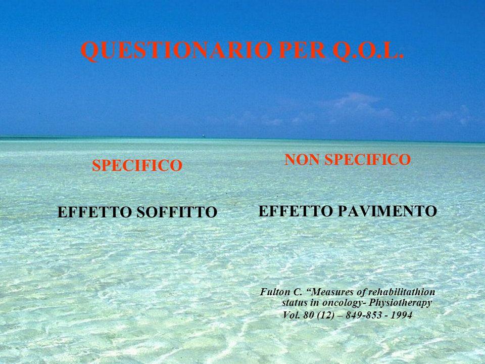 QUESTIONARIO PER Q.O.L. SPECIFICO NON SPECIFICO EFFETTO SOFFITTO