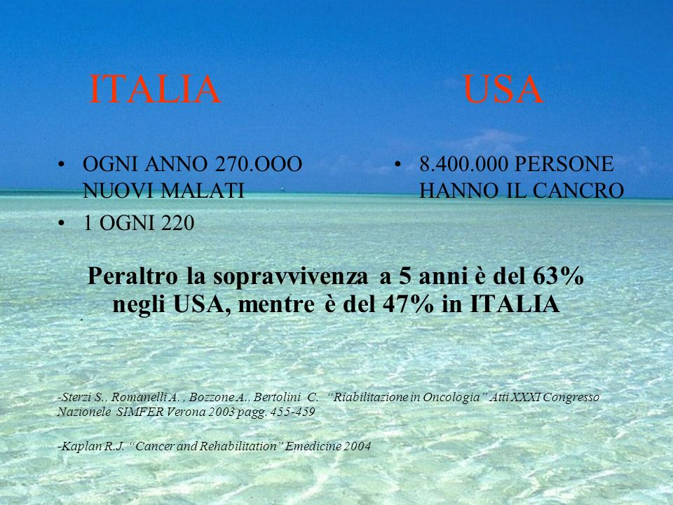 ITALIA USA OGNI ANNO 270.OOO NUOVI MALATI. 1 OGNI 220. 8.400.000 PERSONE HANNO IL CANCRO.