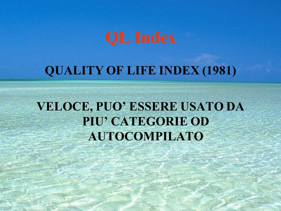 QL Index QUALITY OF LIFE INDEX (1981)