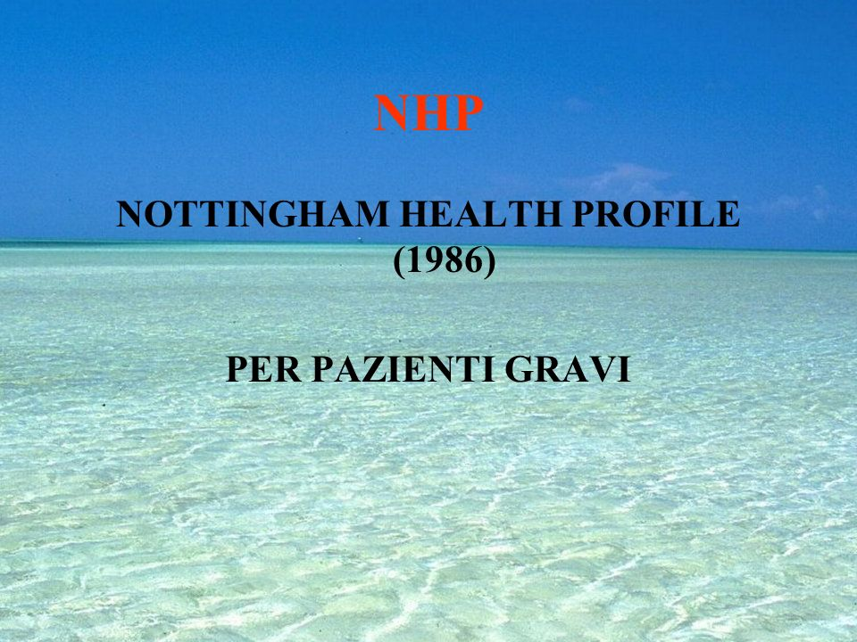 NOTTINGHAM HEALTH PROFILE (1986)