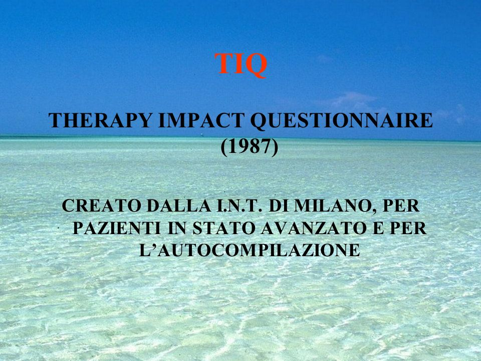 THERAPY IMPACT QUESTIONNAIRE (1987)