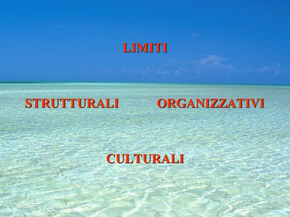 LIMITI STRUTTURALI ORGANIZZATIVI CULTURALI