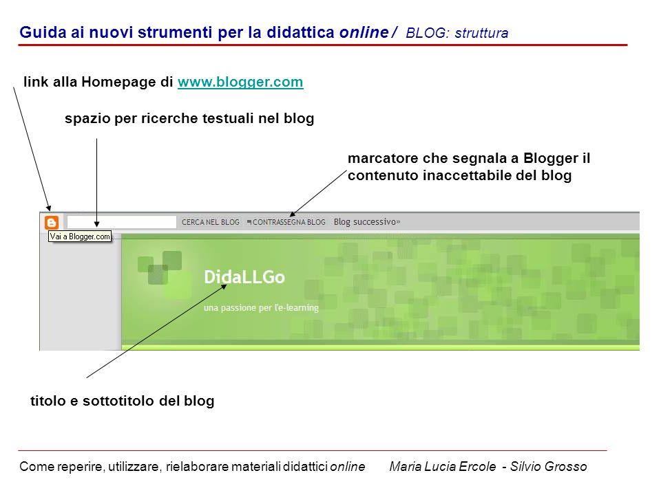 Guida ai nuovi strumenti per la didattica online / BLOG: struttura