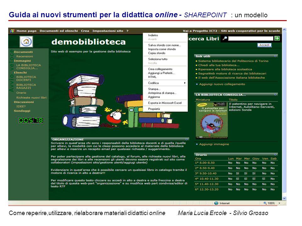 u Guida ai nuovi strumenti per la didattica online - SHAREPOINT : un modello.