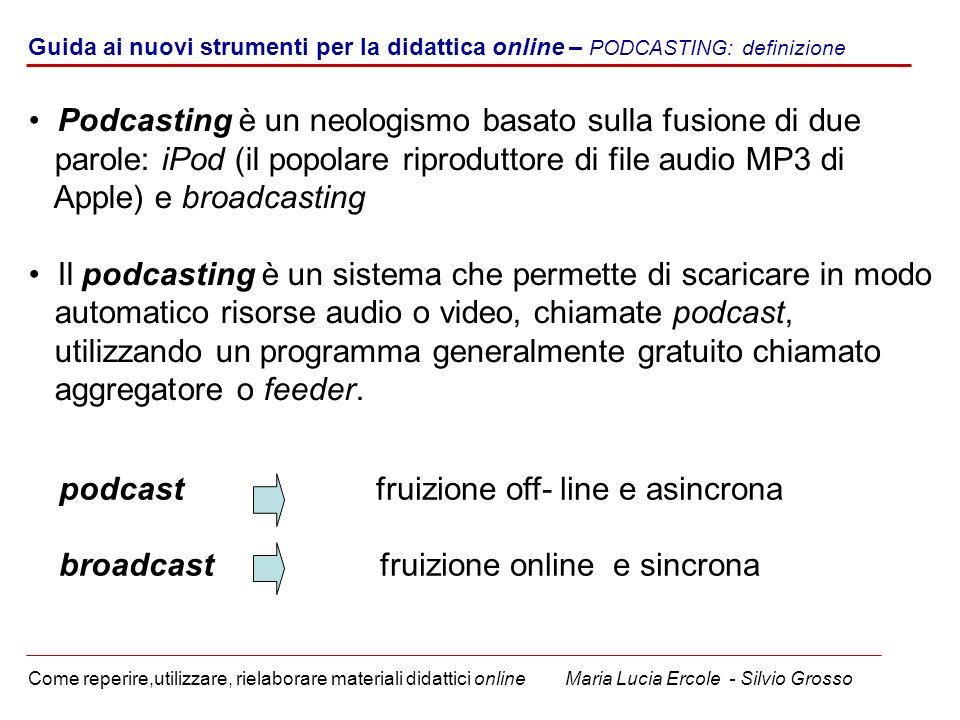 Podcasting è un neologismo basato sulla fusione di due