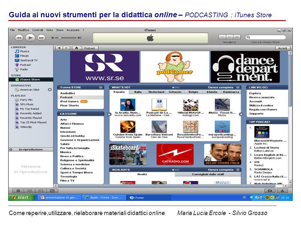 u Guida ai nuovi strumenti per la didattica online – PODCASTING : iTunes Store.