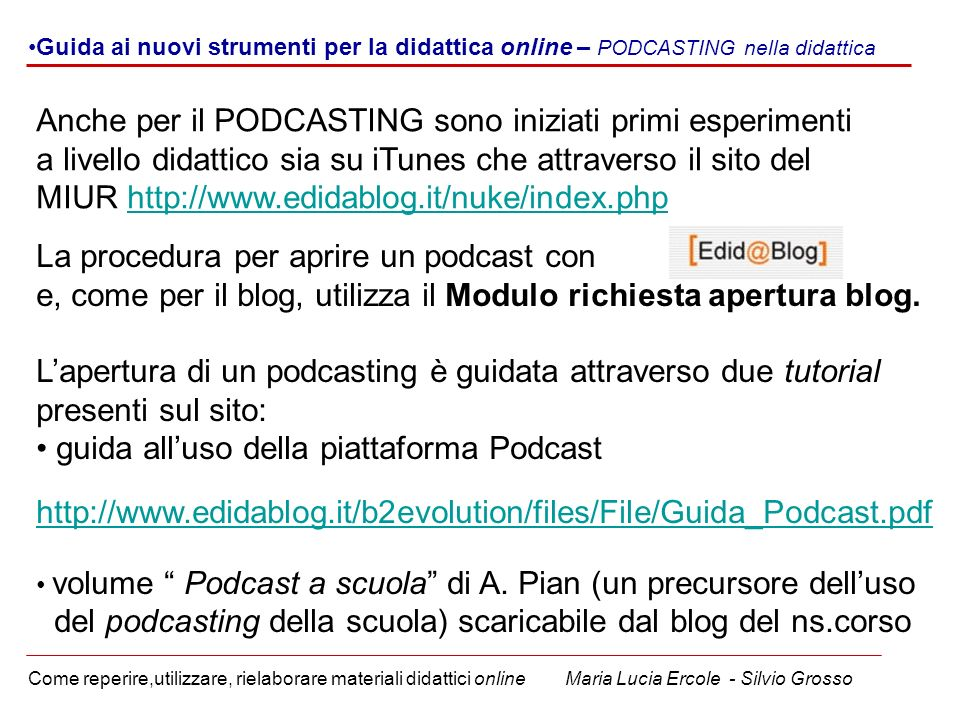 La procedura per aprire un podcast con