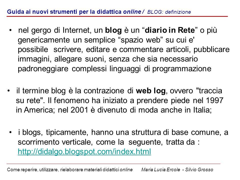 nel gergo di Internet, un blog è un diario in Rete o più