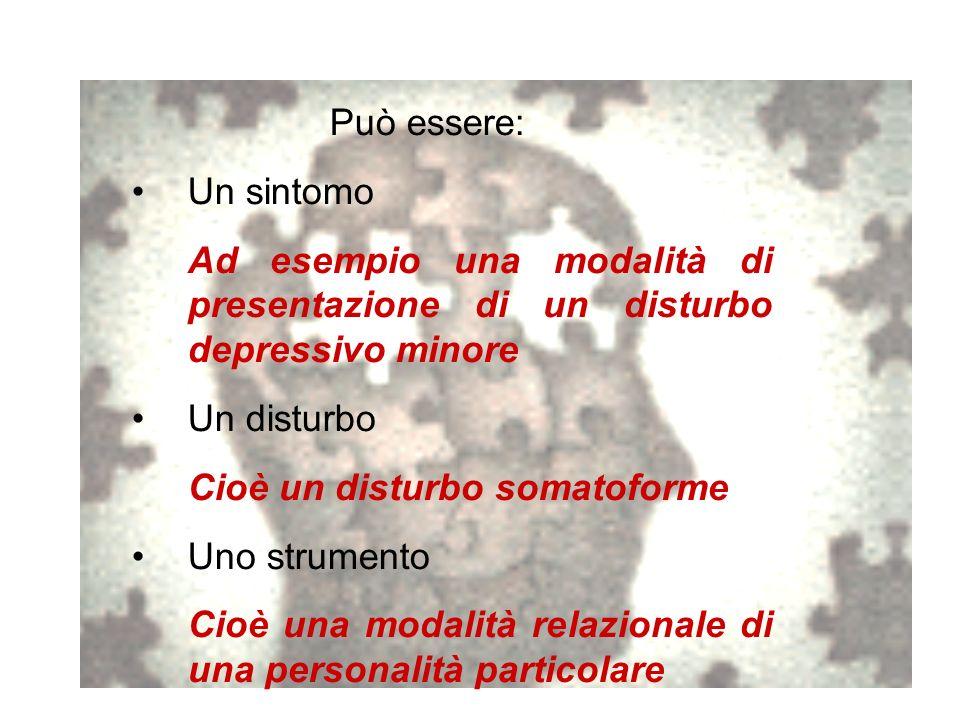 Può essere: Un sintomo. Ad esempio una modalità di presentazione di un disturbo depressivo minore.