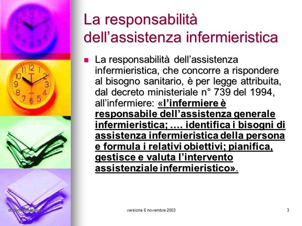 La responsabilità dell'assistenza infermieristica