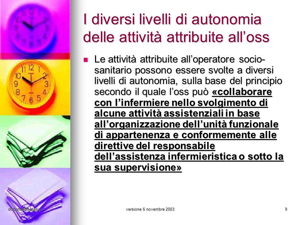 I diversi livelli di autonomia delle attività attribuite all'oss