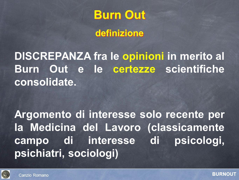 Burn Out definizione. DISCREPANZA fra le opinioni in merito al Burn Out e le certezze scientifiche consolidate.