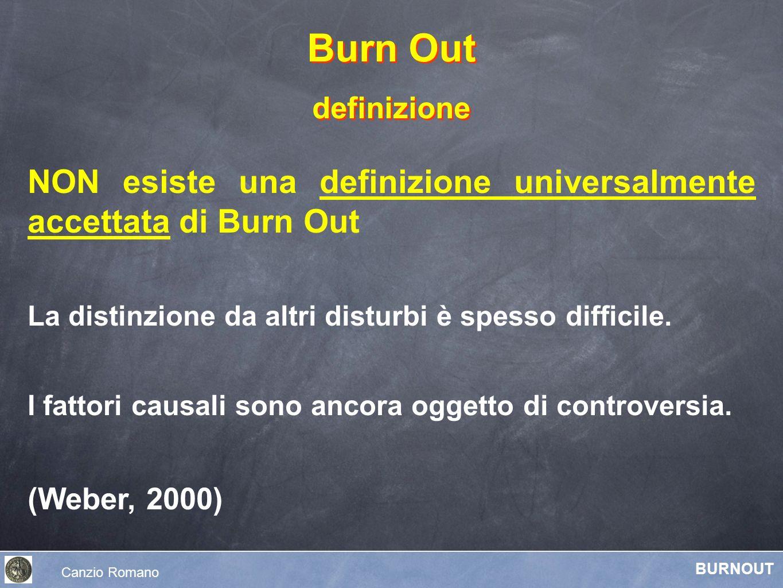 Burn Out definizione. NON esiste una definizione universalmente accettata di Burn Out. La distinzione da altri disturbi è spesso difficile.