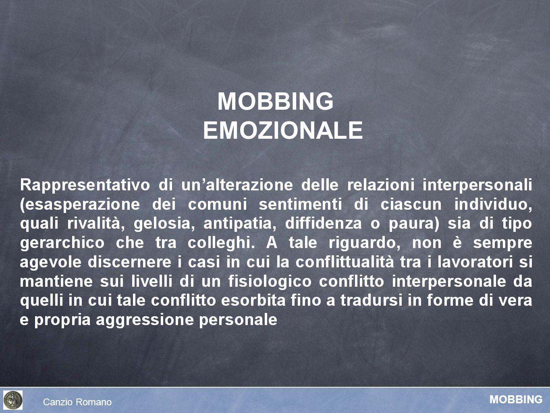 MOBBING EMOZIONALE Canzio Romano MOBBING