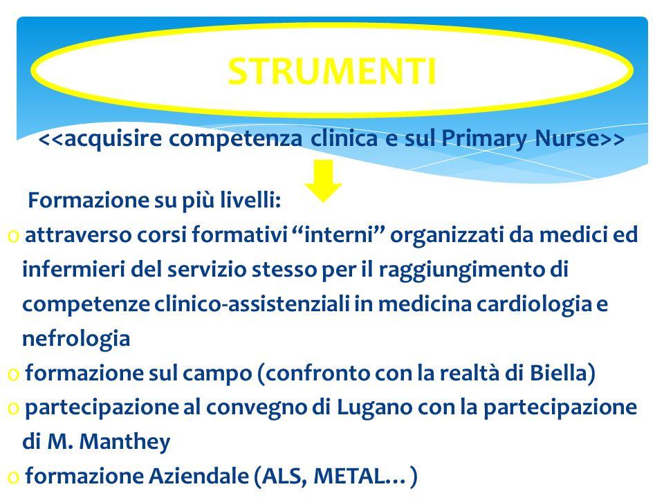 <<acquisire competenza clinica e sul Primary Nurse>>