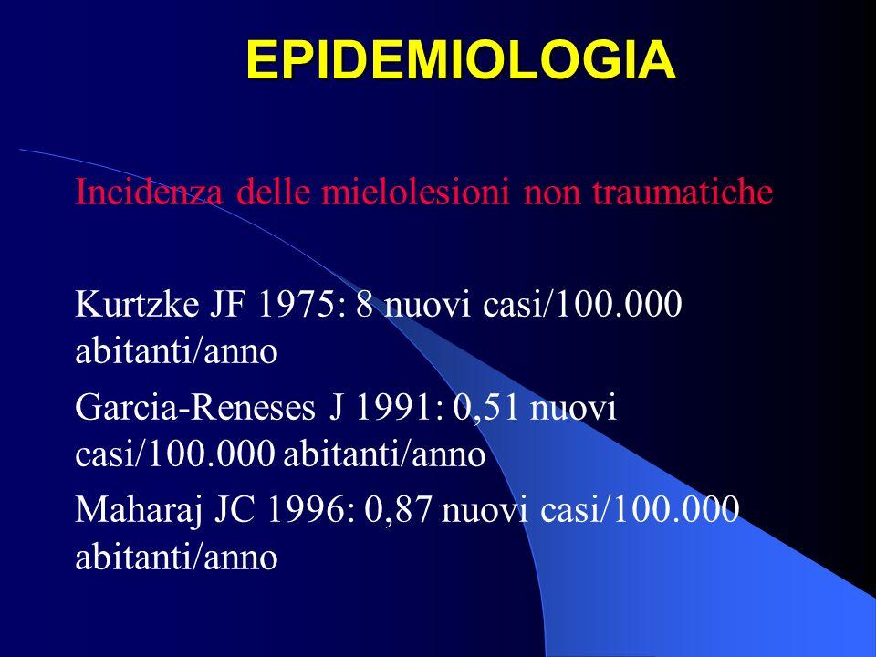 EPIDEMIOLOGIA Incidenza delle mielolesioni non traumatiche