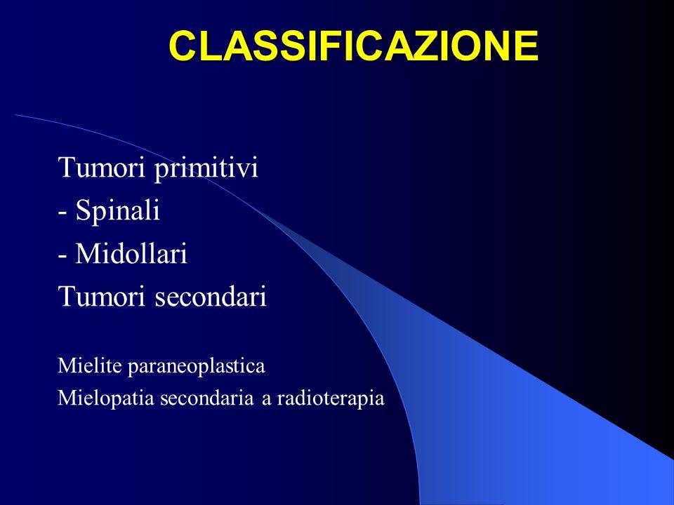 CLASSIFICAZIONE Tumori primitivi - Spinali - Midollari