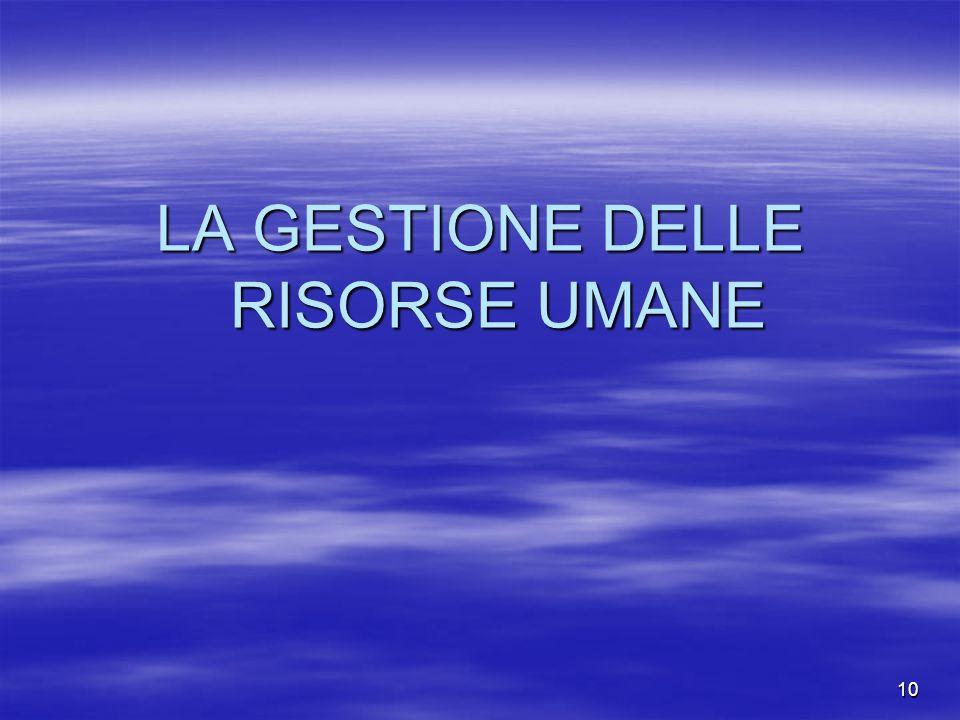 LA GESTIONE DELLE RISORSE UMANE